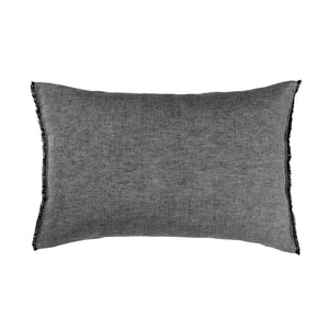 Aura Chambray Fringe Pillowcase - Smoke