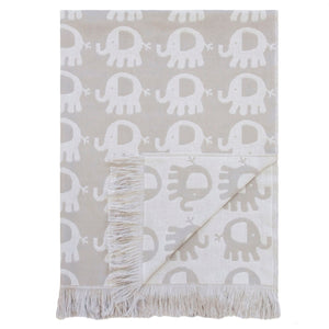 Elephant Cotton Baby Blanket - Lunar Rock