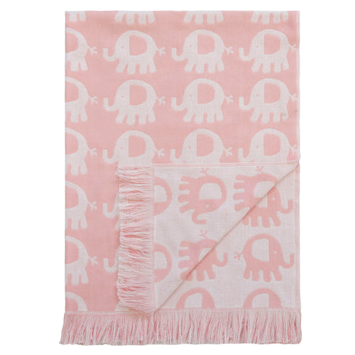Elephant Cotton Baby Blanket - Pink