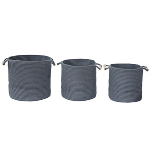 Grey Jute Rope Storage Basket - Set of 3