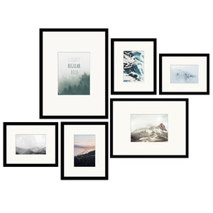 Black Photo Frames - Set of 6