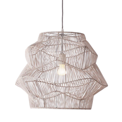 Pendant Light - Iron and Rattan White Wash