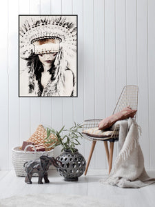 Boho Girl Framed Art - 93x65cm