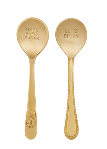 Embossed Condiment Spoon - Set of 2