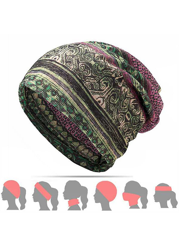 Womens Ethnic Cotton Hats Vintage Print Stripe Outdoor Scarves