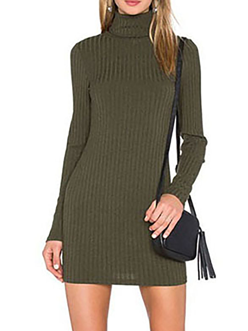 Army Green Casual Solid Turtle Neck Knitted Fall Dress