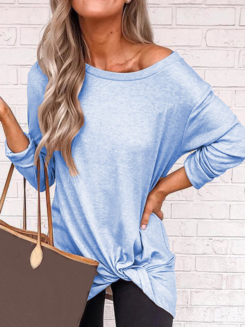 Plus Size Casual Long Sleeve Solid Tops