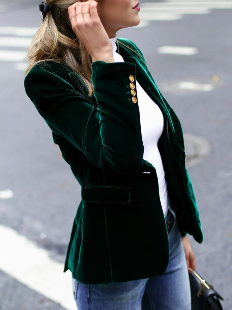 Army Green Long Sleeve Buttoned Velvet Outerwear