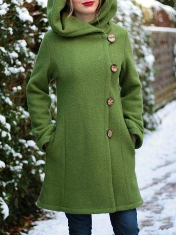 Green Hoodie Solid Buttoned Casual plus size Outerwear