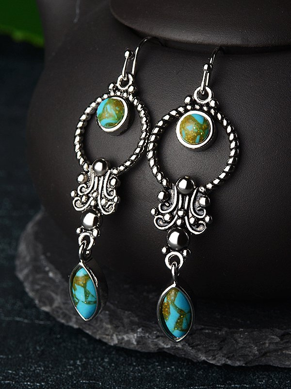 Green Casual Alloy Earrings
