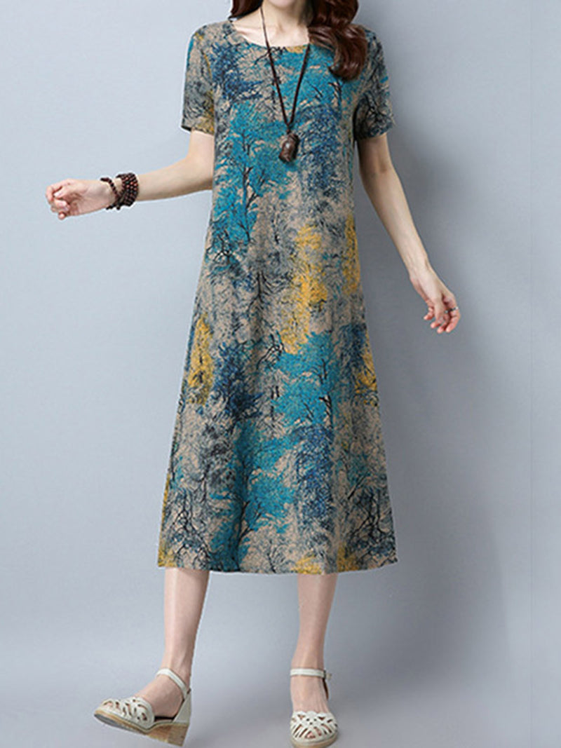 Crew Neck Women Casual Dresses Shift Casual Cotton-Blend Printed Dresses