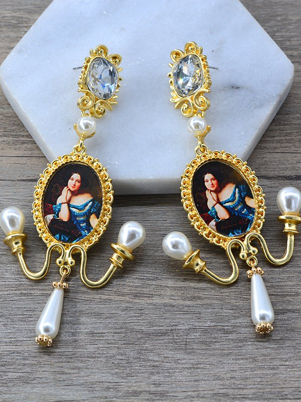 Golden Alloy Casual Earrings