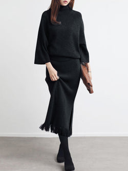 Turtle Neck Elegant Knitted Sweater Dress Sets