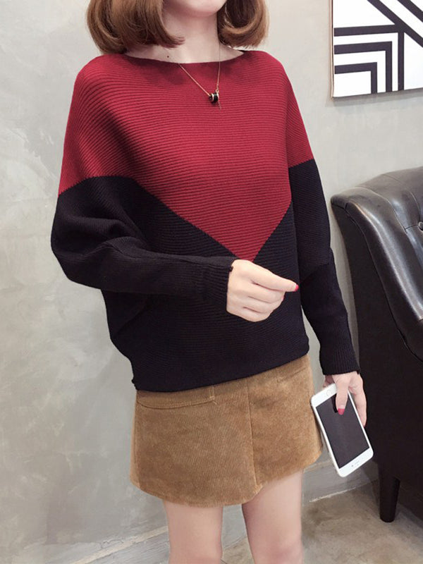 Casual Crew Neck Long Sleeve Color-Block Sweater