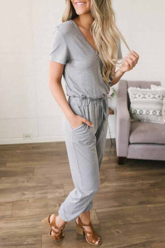 Solid Color Deep V Cross Jumpsuit