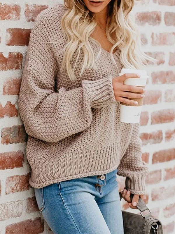 Khaki V Neck Casual Sweater