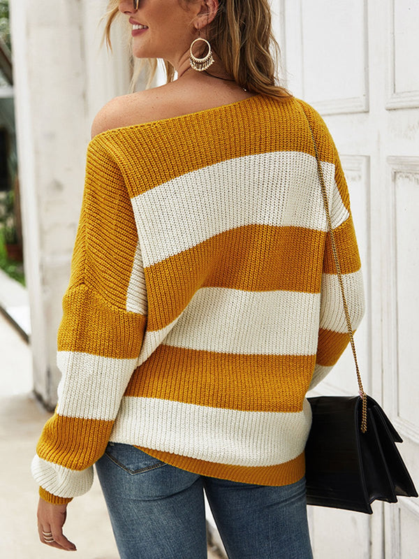 Casual Knitted Long Sleeve Striped Sweater