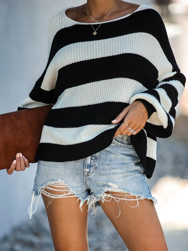 Knitted Long Sleeve Casual Stripes Sweater