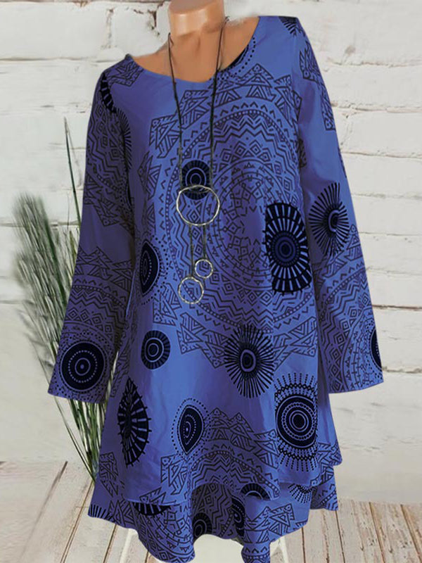 Women Long Sleeve Casual Printed Dress
