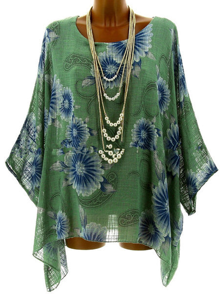 3/4 Sleeve Crew Neck Printed/Dyed Plus Size Floral Blouse
