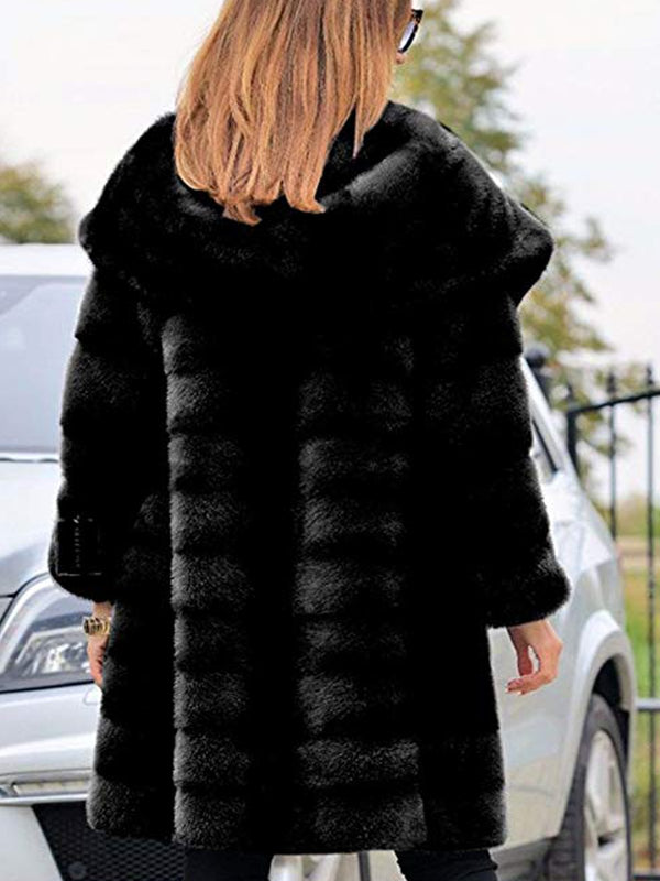 Plus Size Womens Thick Faux Fur Big Hooded Parka Long Overcat Peacoat Winter Coat