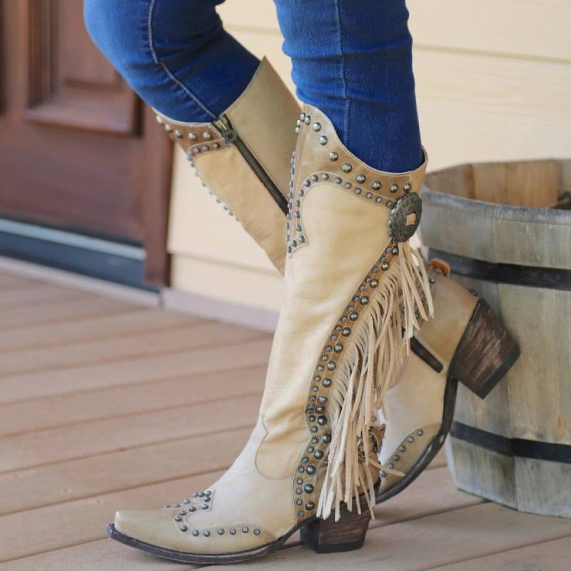 Women Vintage Tassel Western Boots with Zipper