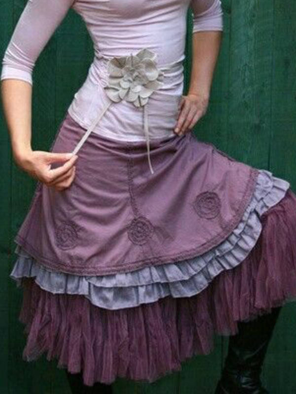 Purple Sweet Plain Cotton Skirts