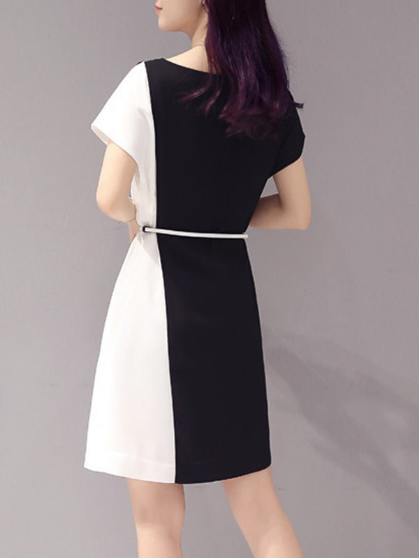 Women Black A-line Daily Chiffon Casual Asymmetric  Dress