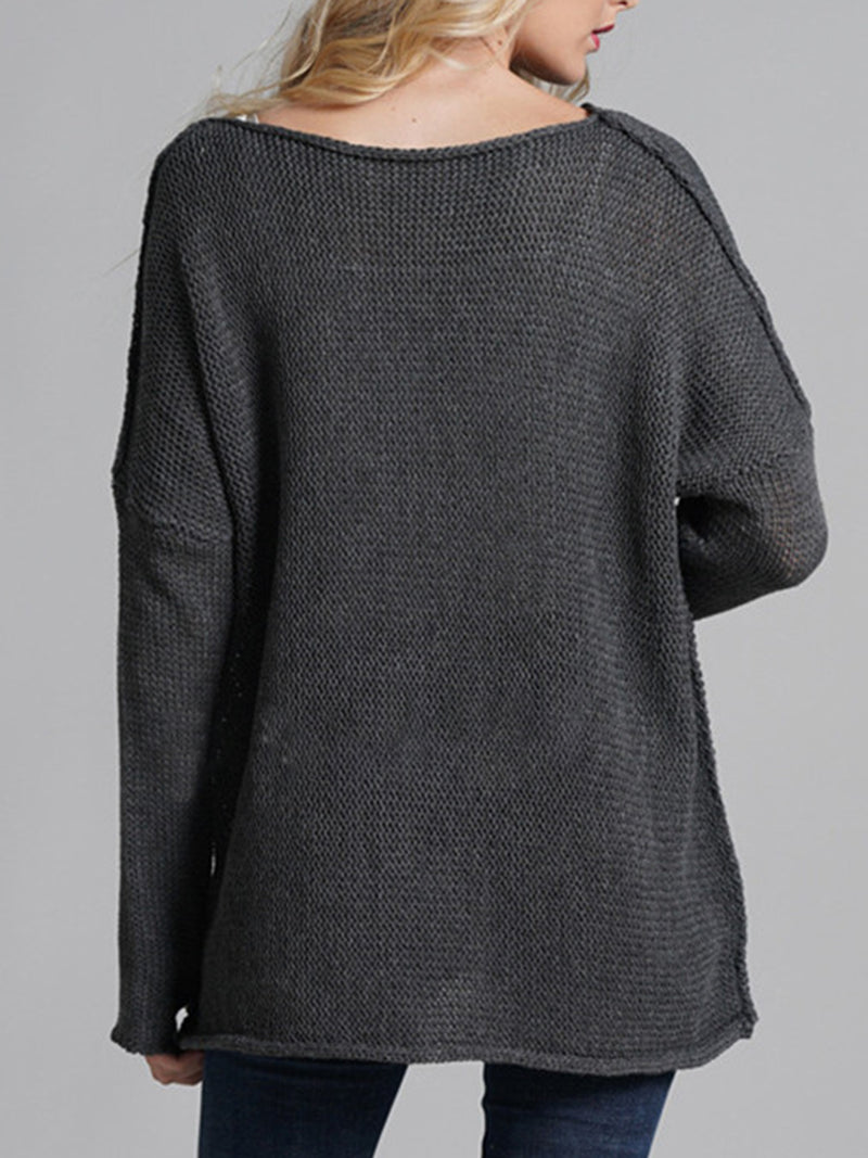 4 Colors Plain Round Neck Simple & Basic Knit Wear Pullover Sweaters