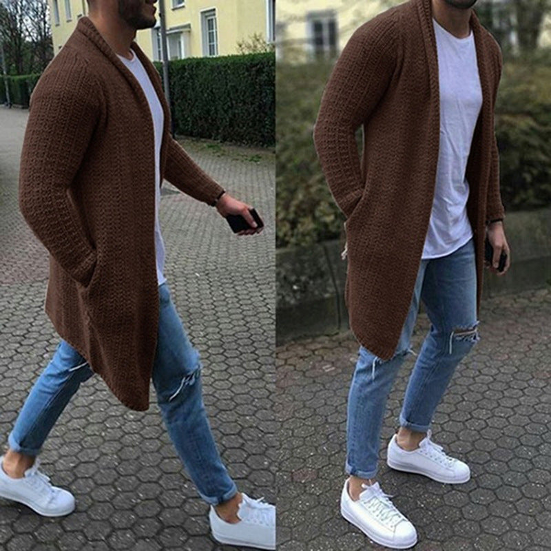 Knitted Solid Pockets Plus Size Men Cardigans