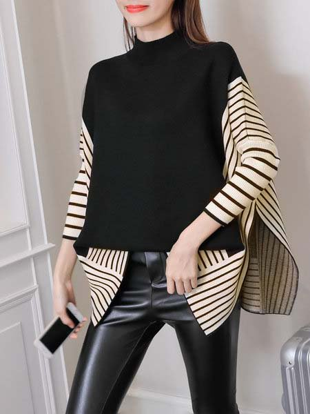 Slit Turtle Neck Batwing Sweater