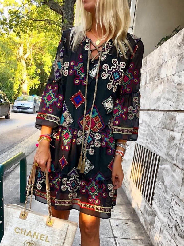2019 Summer Fashion Boho Floral-Print Patchwork Dresses