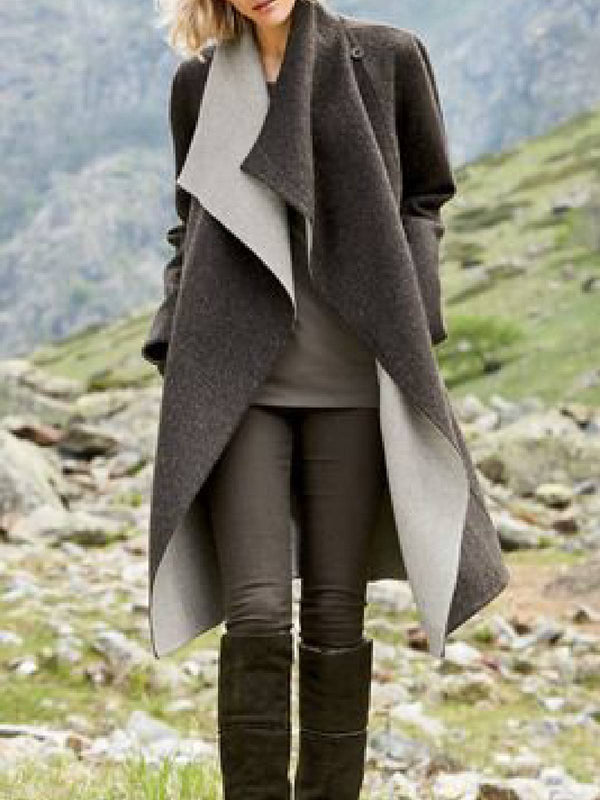 Elegant Shawl Collar Long Sleeve Outerwear