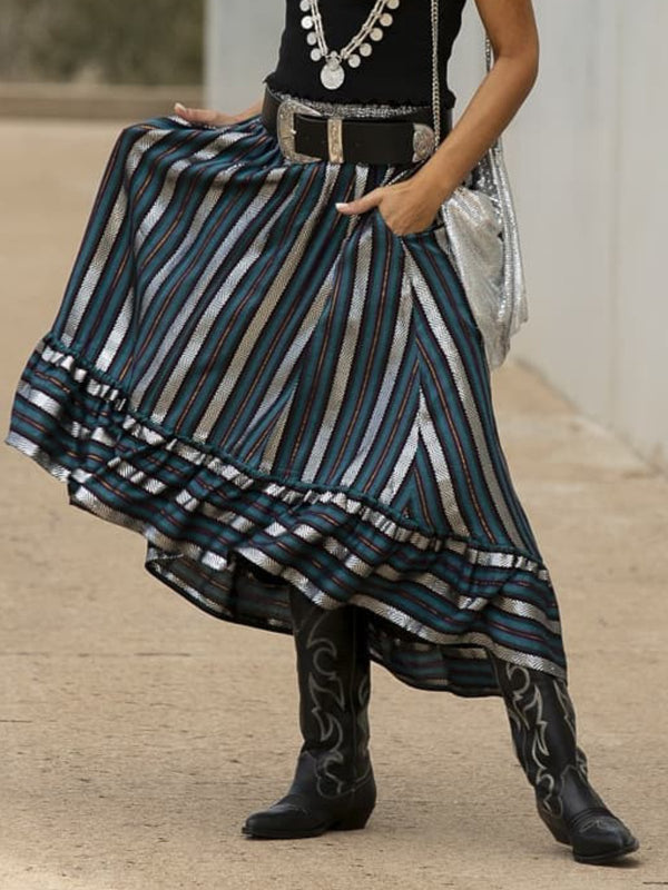 Vintage Ruffled Striped Casual Skirts