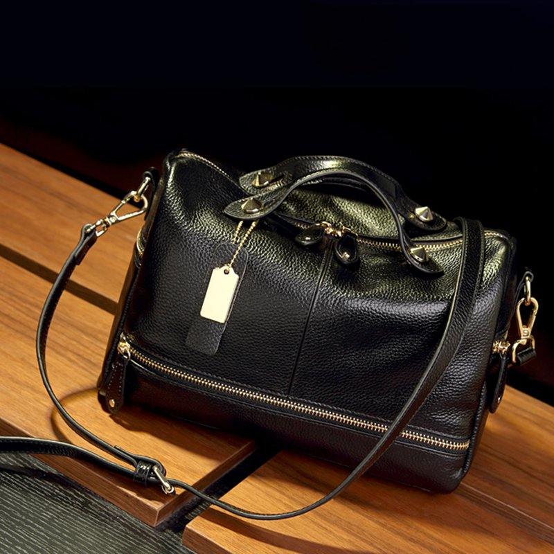 Black Zipper Retro Cowhide Leather Handbag