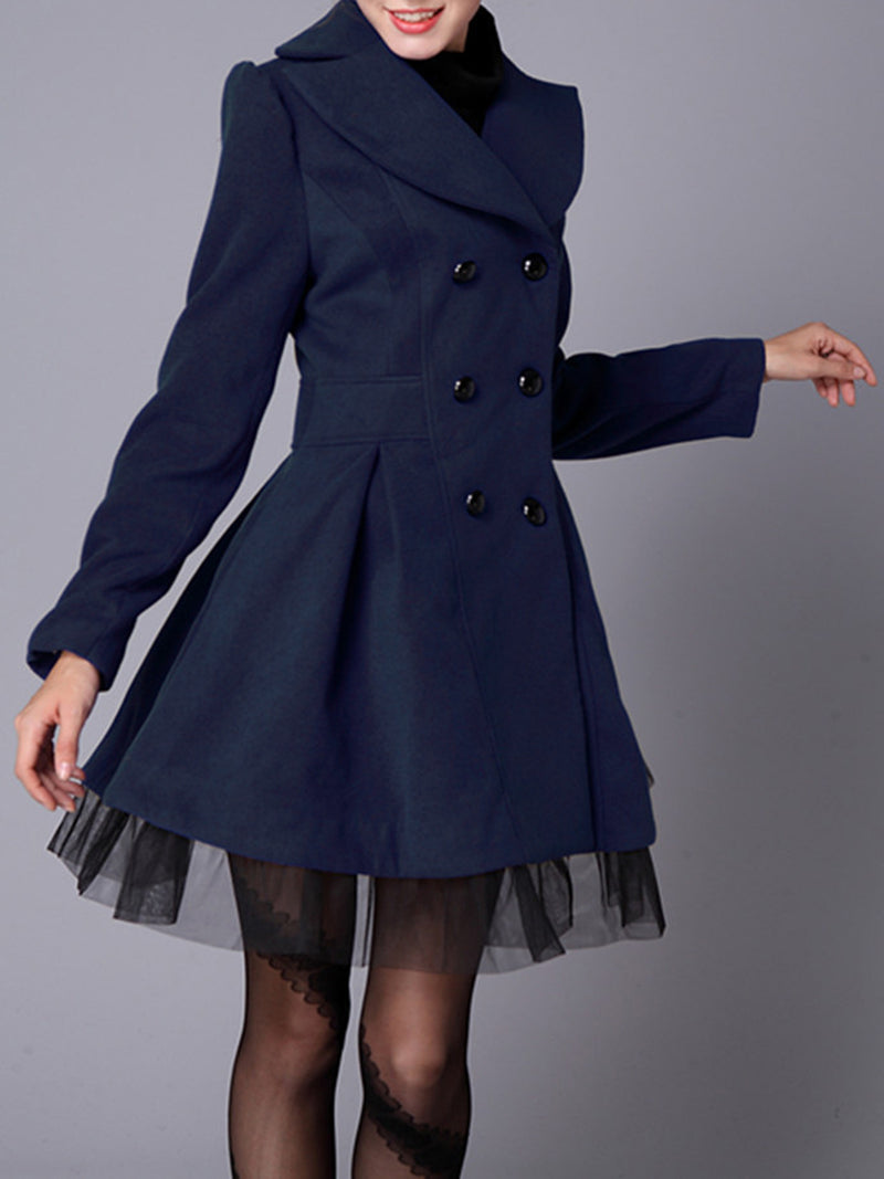 Solid Long Sleeve Cotton-Blend Coat