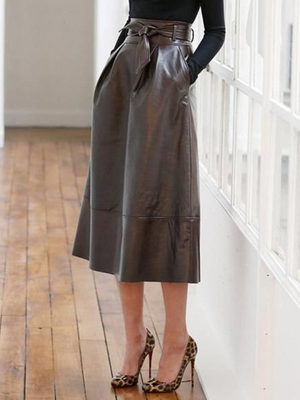 Deep Brown Faux Leather Solid Casual Skirts