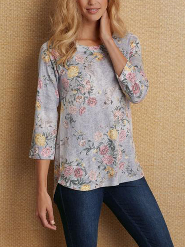 3/4 Sleeve Printed Crew Neck Blouse