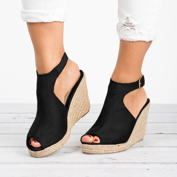 Women Espadrille Wedge Heel Sandals Peep Toe Shoes