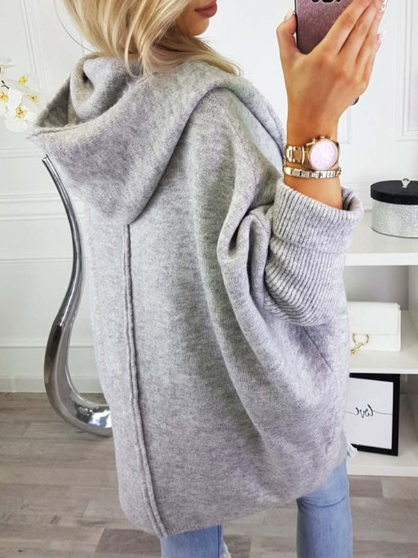 Knitted Plain Batwing Casual Cardigans