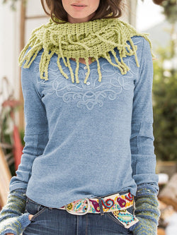 V Neck Embroidery Cotton Long Sleeve Shirts & Tops