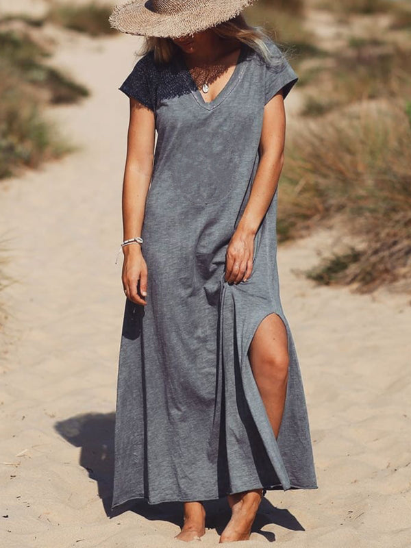 Solid Cotton Casual Dresses