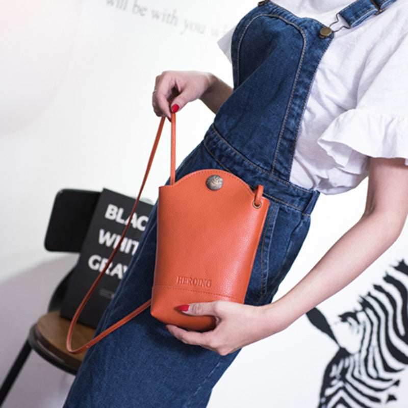 Woman PU Crossbody Bag Little Phone Purse Bucket Bag