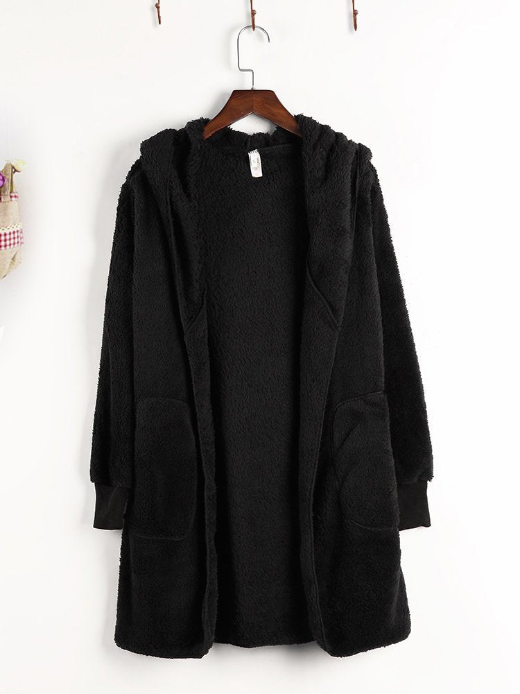 Fleece Hooded Pocket Solid Color Long Sleeve Coats
