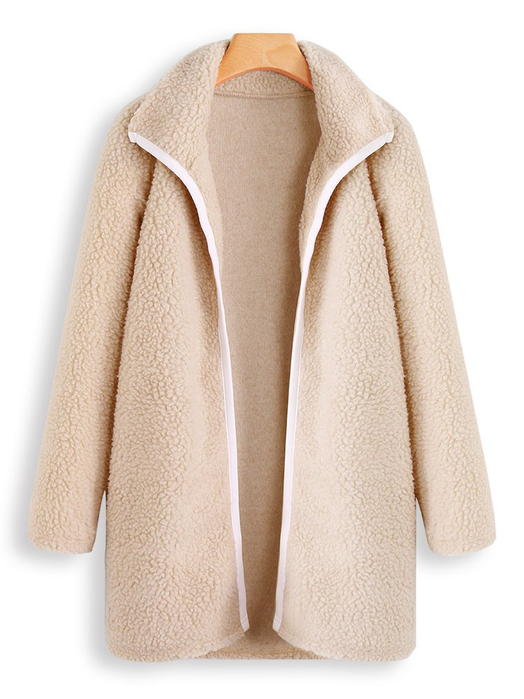 Cashmere Shawl Collar Solid Long Sleeve Teddy Bear Coats