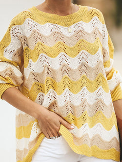 Yellow Crew Neck Long Sleeve Zigzag Plus Size Sweaters