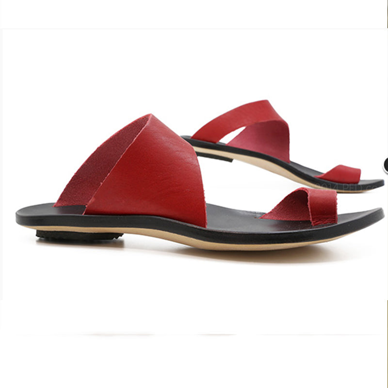 Sandals - Slip On Open Toe Flat Heel Sandals