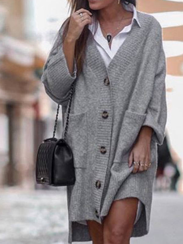 Gray Knitted Plain V Neck Casual Outerwear