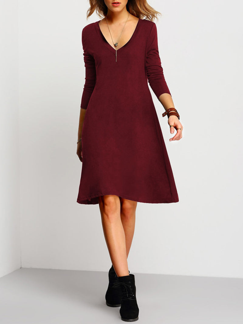 Burgundy V Neck A-line Solid Midi Dress