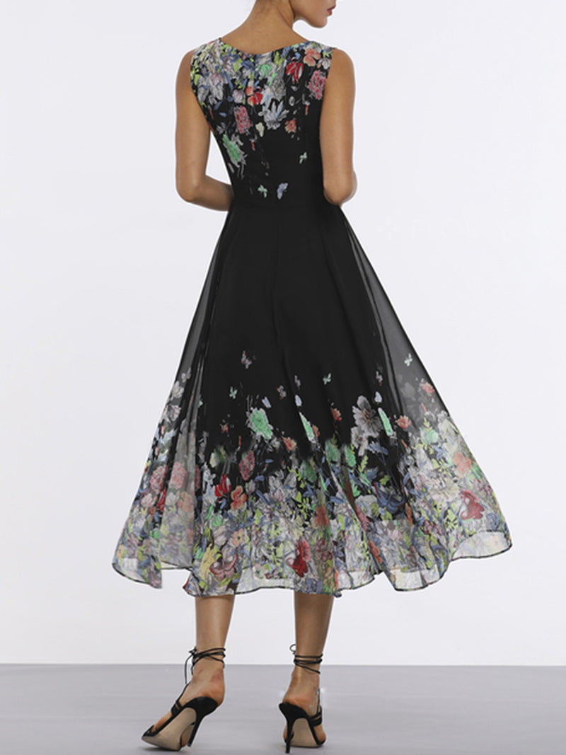 Black Floral A-line Elegant Sleeveless Midi Dress